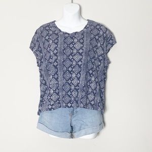 Lucky Brand Navy & White Aztec Print Cropped Top